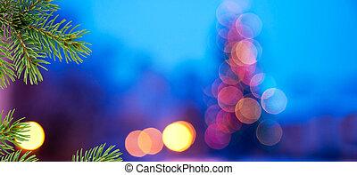 navidad, fondo., fondo azul, con, agujas, de, navidad,...