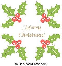navidad, frontera, bayas acebo