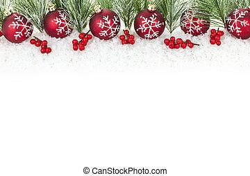 navidad, frontera, con, rojo, ornamentos