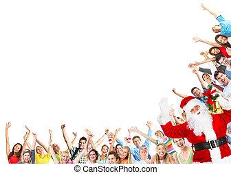 navidad, gente, grupo, y, santa claus