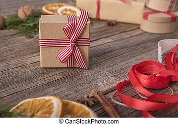 navidad, gift., close-up.