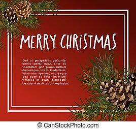 navidad, greeting-card, con, abeto