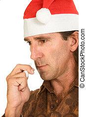 navidad, gripe, -, centro envejecido, hombre, utilizar, espray nasal