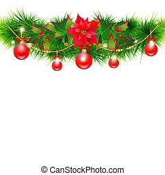 navidad, guirnalda, con, flor de nochebuena, y, rojo, pelotas, en, un, blanco