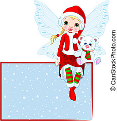navidad, hada, tarjeta de lugar