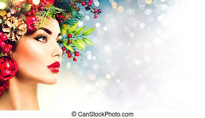 navidad, hairstyle., feriado, maquillaje, primer plano
