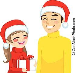 navidad, hija, papá, con, regalo