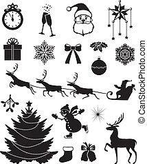 navidad, icono, conjunto