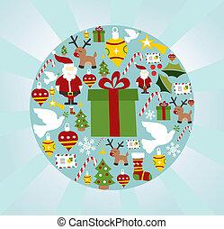 navidad, icono, conjunto, en, círculo, forma