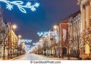 navidad, iluminaciones, tarde, o, calle, año, avenida, ...