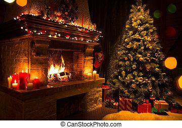 navidad, interior, con, árbol, presentes, y, chimenea