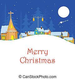 navidad, invierno, noche