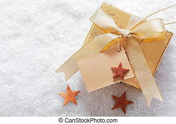 navidad, invierno, regalo, nieve