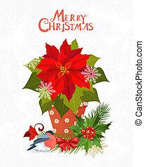 navidad, invitación, tarjeta, con, flor de nochebuena, en, olla, para, su, diseño