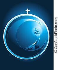 navidad, jesús, bebé, maría, redondo, icono