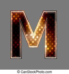 navidad, letra m, con, luz entusiasta, textura