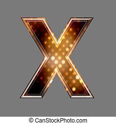 navidad, letra x, con, luz entusiasta, textura