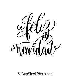 navidad, lettering, citação, mão, feliz, positivo, feriado, natal