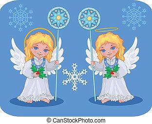 navidad, lindo, ángeles, conjunto