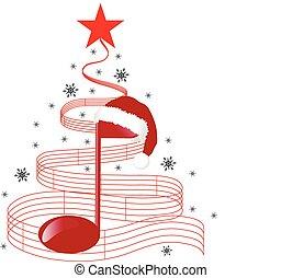 navidad, música, árbol