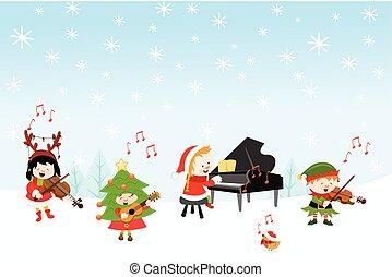 navidad, música, 2