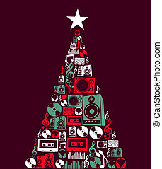 navidad, música, objetos, árbol
