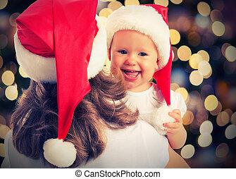 navidad, magia, familia feliz, madre y bebé