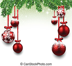 navidad, marco, con, abeto, branches.