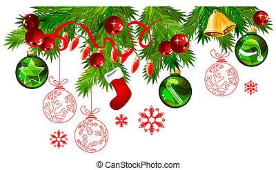 navidad, marco, con, abeto, ramas, y, oro, y, verde, pelotas