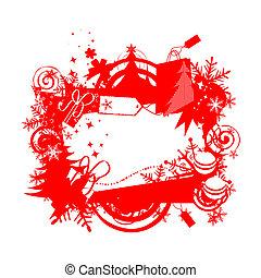 navidad, marco, con, lugar, para, su, texto