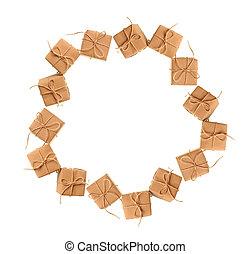 navidad, marco, de, cajas del regalo, con, espacio, para, texto