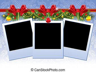 navidad, marco de la foto, con, arco rojo