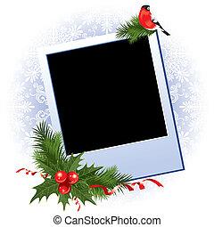 navidad, marco de la foto, con, baya acebo