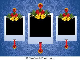navidad, marco de la foto, con, campanas