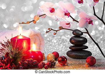 navidad, masaje, composición, balneario
