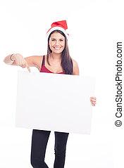 navidad, muestra en blanco, mujer
