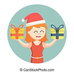 navidad, niña, con, regalos, en, círculo, plano de fondo