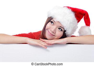 navidad, niña joven, mirar hacia arriba, y, pensamiento