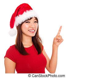 navidad, niña, señalar, en, espacio sin expresión