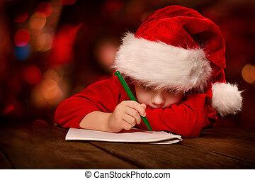navidad, niño, carta escritura, en, rojo, santa sombrero