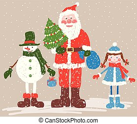 navidad, nieve, claus, santa, tarjeta, snowman, saludo, doncella
