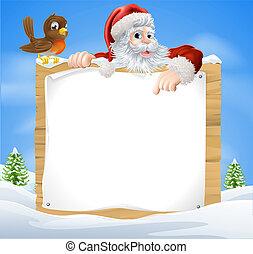 navidad, nieve escena, santa, señal