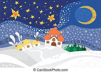 navidad, noche, paisaje