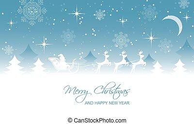 navidad, paisaje, santa, en, sleigh, con, reindeer.
