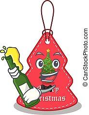 navidad, paredes, cerveza, etiquetas, ahorcadura, caricatura