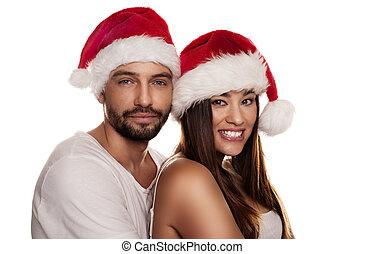 navidad, pareja