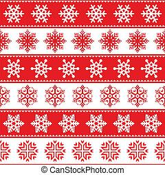 navidad, patrón, rojo, invierno