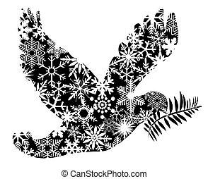 navidad, paz, paloma, silueta