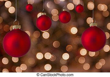 navidad, pelotas, con, confuso, luz, plano de fondo