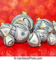 navidad, pelotas, con, dinero, textura